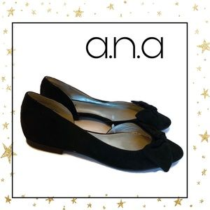 Ana Women's Black Suede Slip-on Bow Flats 6 6M